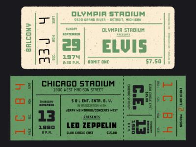 Vintage concert tickets with Manufaktur
