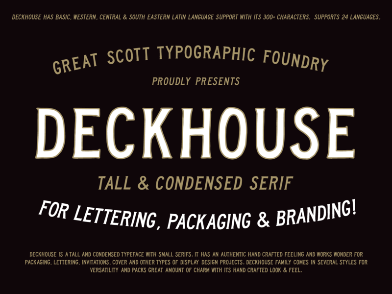 Deckhouse - A tall & condensed serif font