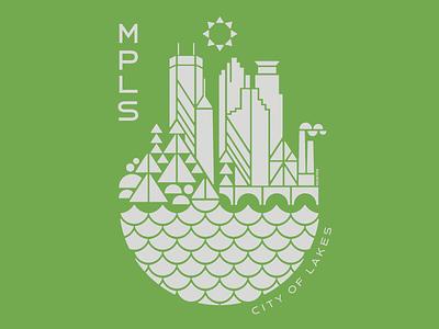 MPLS / City of Lakes t-shirt art silkscreen skyline city lakes geometric illustration minnesota minneapolis