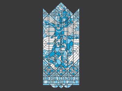 Red Bull Crashed Ice screen print rune stone stained glass crashed ice red bull silkscreen poster typography vector illustration