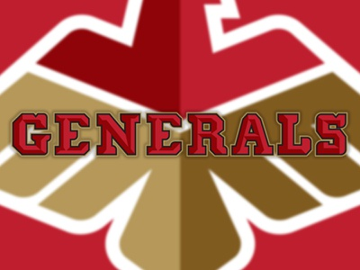 Football Team Branding New Jersey Generals football generals logo display gold eagle star red medal