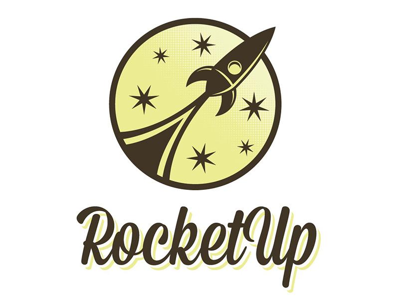 Rocketup retro logo circle star rocket