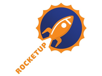 Rocketup modern logo circle star rocket