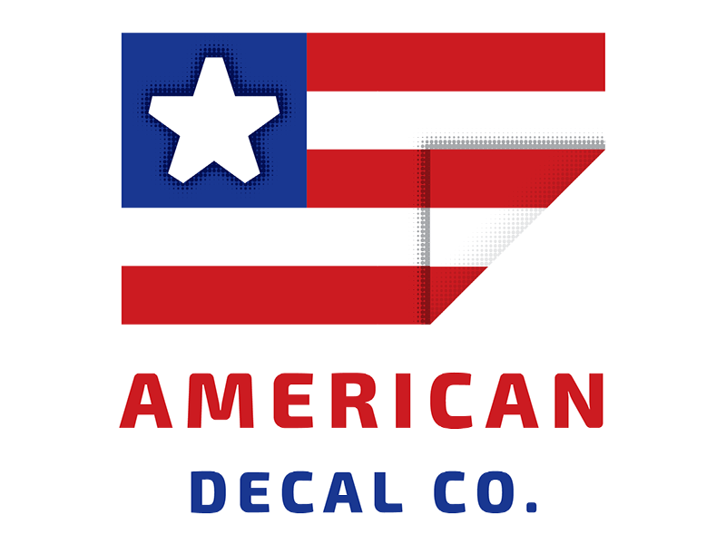 American Decal Company Logo Concept sans serif blue white red stripe star company decal american flag