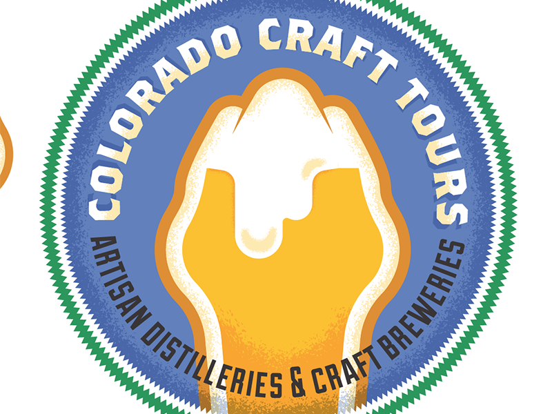 Brewery tours logo display texture patch colorado logo mountain beer brew