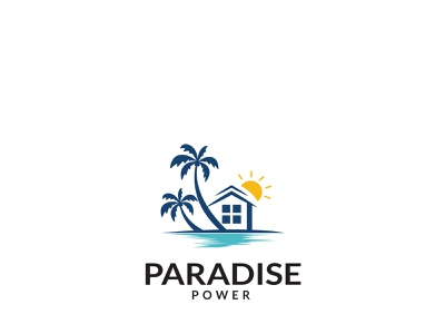 Paradise flat web minimal typography icon vector minimalist logo logodesign logo paradise
