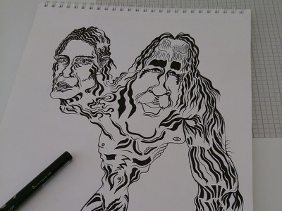 Two Heads illustration work in progress bw pen paper character