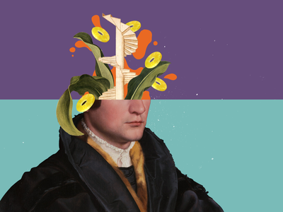 What's in your head? fineart blob orange stairs ananas head collageart graphic design colors collage art illustration photoshop graphicdesign collage digital collage maker collage