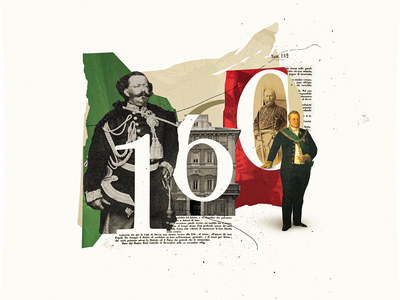 Anniversary of the Unification of Italy old flag paper 1800s anniversary 160 italy collage maker collage art collageart graphic design design photoshop collage digital colors graphicdesign illustration collages collage graphic