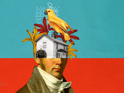 What's in your head? clock portrait art art portrait house bird parrot colorful color collage design graphicdesign photoshop collage maker collages colors illustration collage art collageart graphic