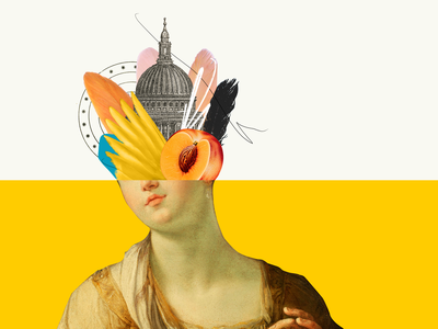 What's in your head? fine art fineart portrait wings feather abstract fruit peach church collage design collage art collage digital graphicdesign collages illustration photoshop collage maker collageart graphic