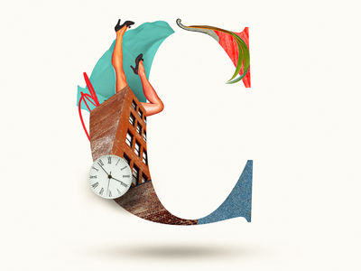 C 36daysoftype c letters typography art teal clock legs collages collage art collage graphic design collage digital typography typo colors photoshop illustration collage maker collageart graphic