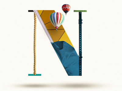 N rope color airballoon n letter n lettering letter 36 days of type 36daysoftype07 36daysoftype branding typography collage maker typo colors photoshop illustration collage digital collageart graphic
