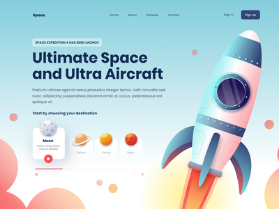 Ultimate Space and Ultra Aircraft Hero Exploration hero rocket debut debute flatillustration aircraft space website illustrator flat minimal web icon vector ui illustration design