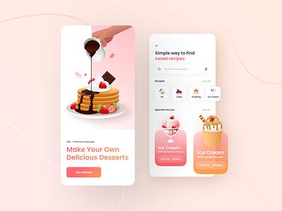 Recipe Mobile App minimal flatillustration app clean food onboarding mobile app recipes flat design app vector ui illustration design