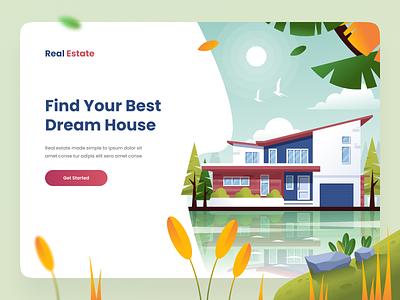 Real Estate Landing Page landingpage apartment home property realestate hero minimal clean vector ui illustration flatillustration flat design