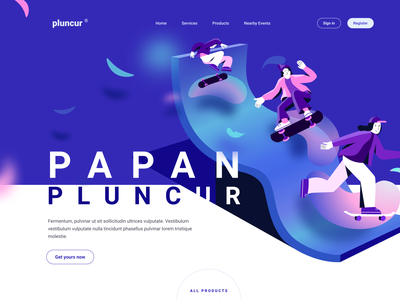 Papan Pluncur landing page exploration board skate skating landing isometric skateboard debut clean website flat minimal web typography vector ui illustration design