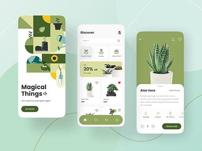 Plant Shop App marketplace shop simple mobile clean green vector minimalist flat ui plants icon illustration app design