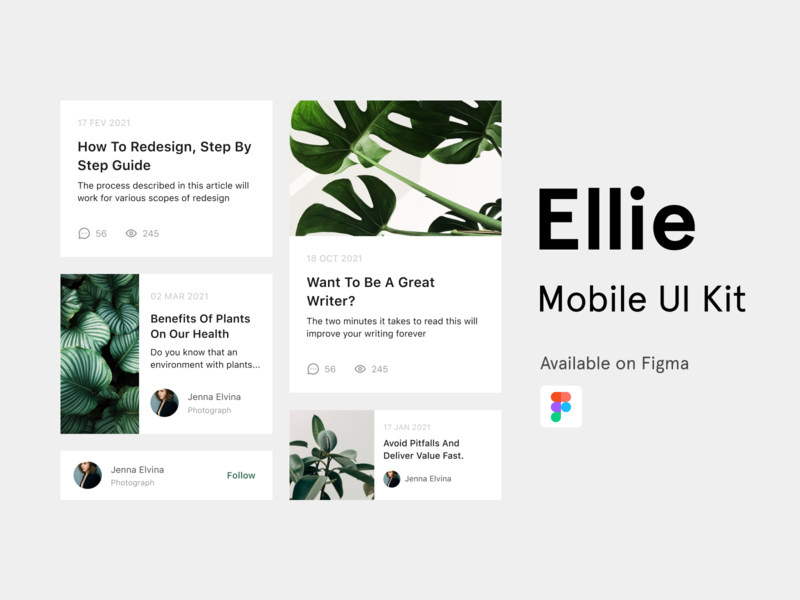 Ellie UI Kit block card figma blog plant free mobile app kit uikits uikit mobile ui design ui design app
