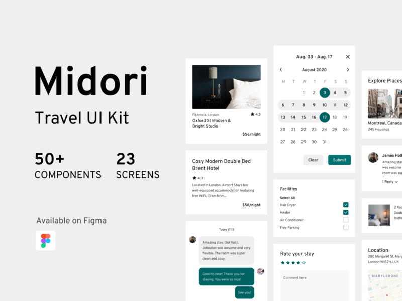 Midori Travel UI Kit design block mobile template components blocks uikit uidesign travel app app travel ux ui design