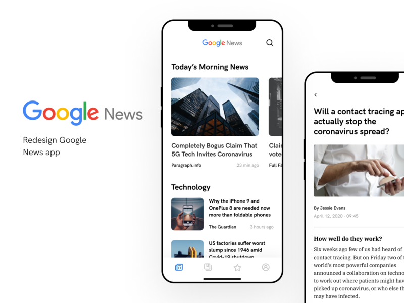 Google News Redesign figma journal ui uidesign redesign google news mobile app news google