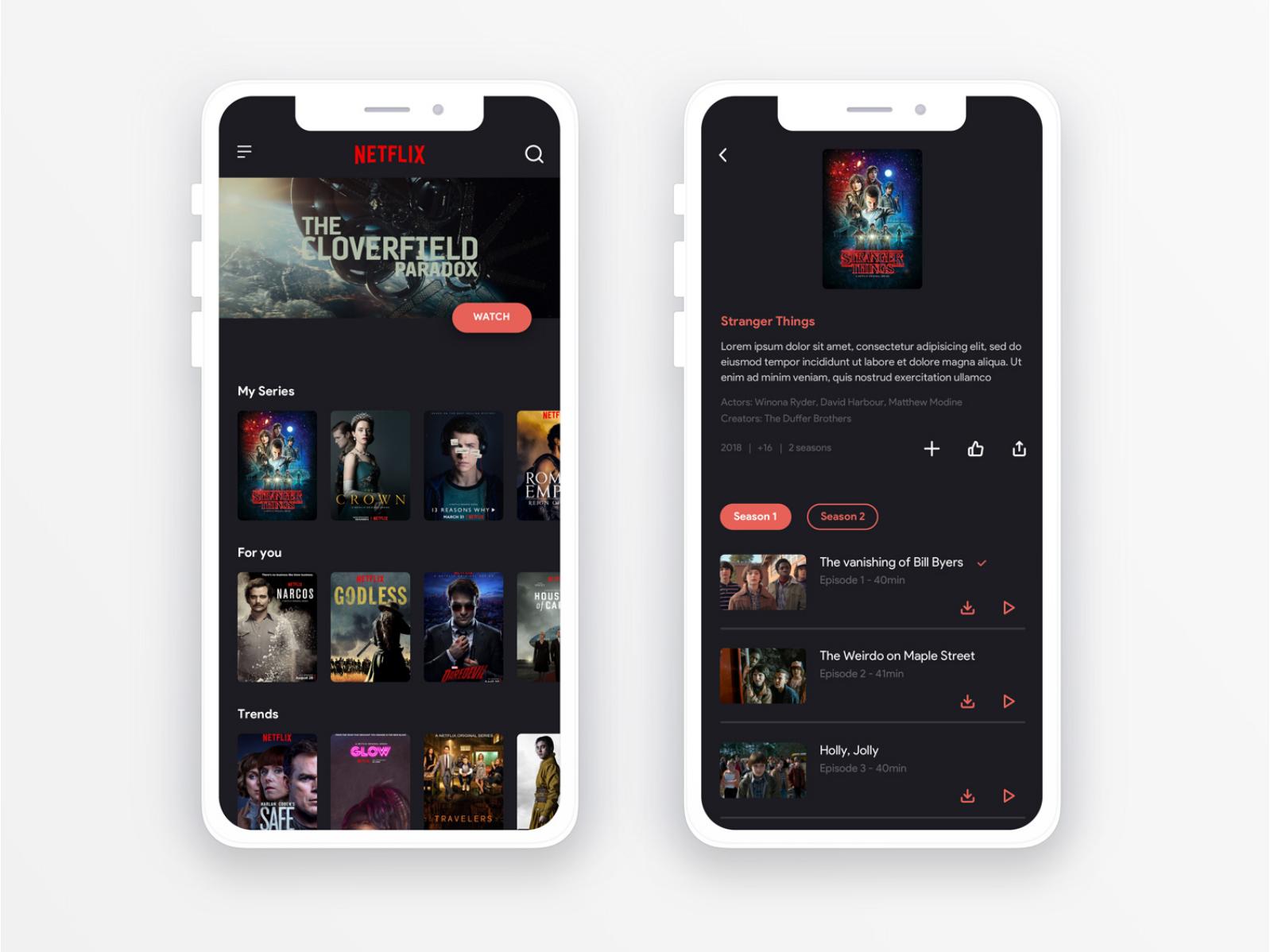 Netflix Redesign ui design design movie app movie series app ui netflix redesign