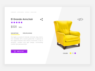 Daily Ui #012 E-commerce Page armchair yellow e-commerce web