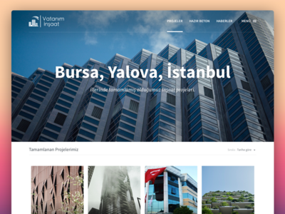 Vatanım İnşaat - Projects Screen blocks hamburger menu ux ui projects blog construction