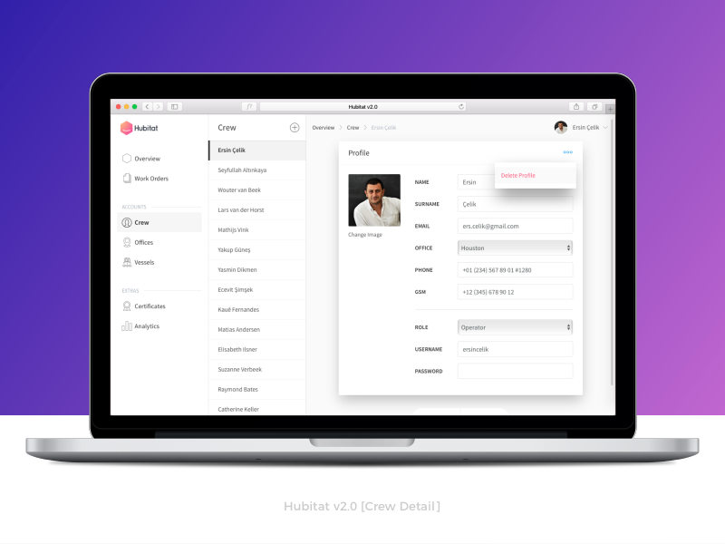 Hubitat v2.0 [Crew Detail] user web app ux ui dropdown admin account list profile certification hubitat crm