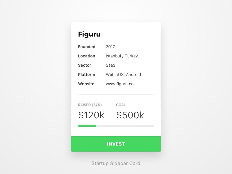 Startup sidebar card