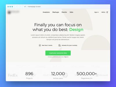 eT. Homepage Screen Design