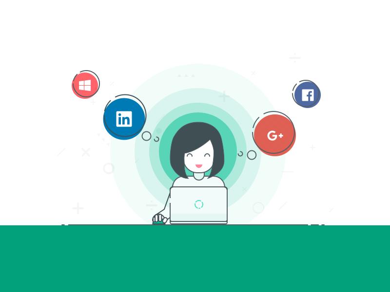 Signup Illustration design flat bubble circle halo woman account social media illustration signup