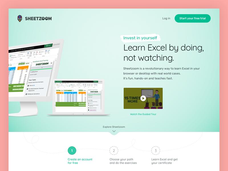 eLearning Landing Page ux ui flat design hero tab steps video elearning excel screen landing page