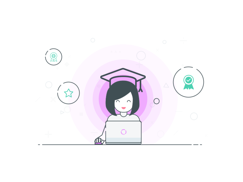 Learn Excel Graduate Illustration halo badge smile illustration learn certificate excel