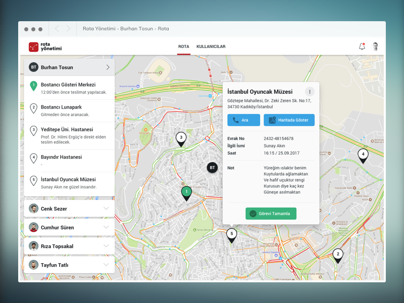 A simple route management web application list ux ui app web application management location map route