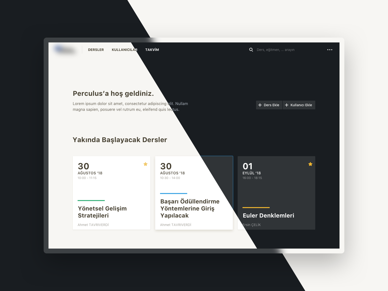 Perculus dashboard choose theme