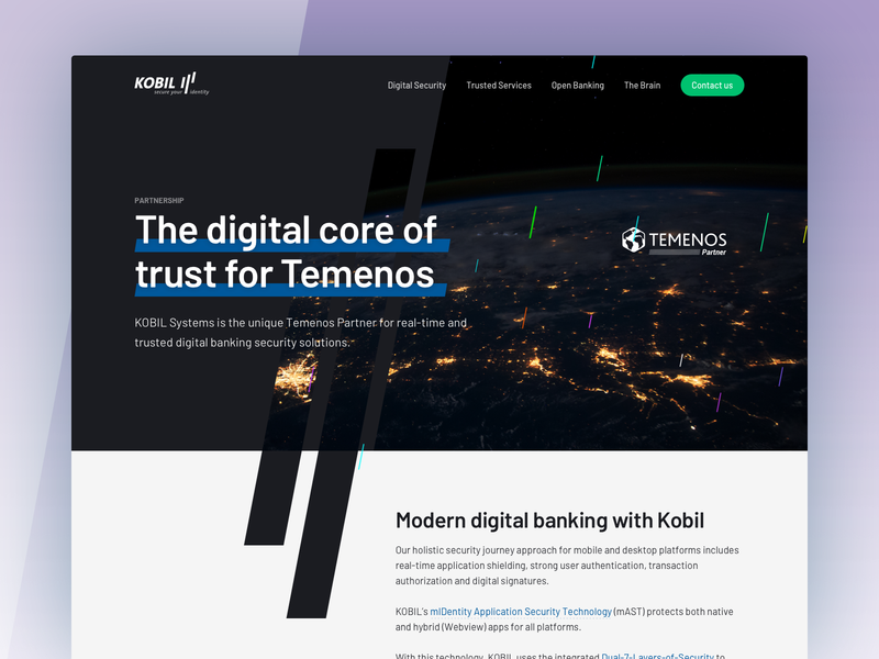 KOBIL for Temenos - Landing Page block custom web website design clean software security banking design ux ui landing page design landing page
