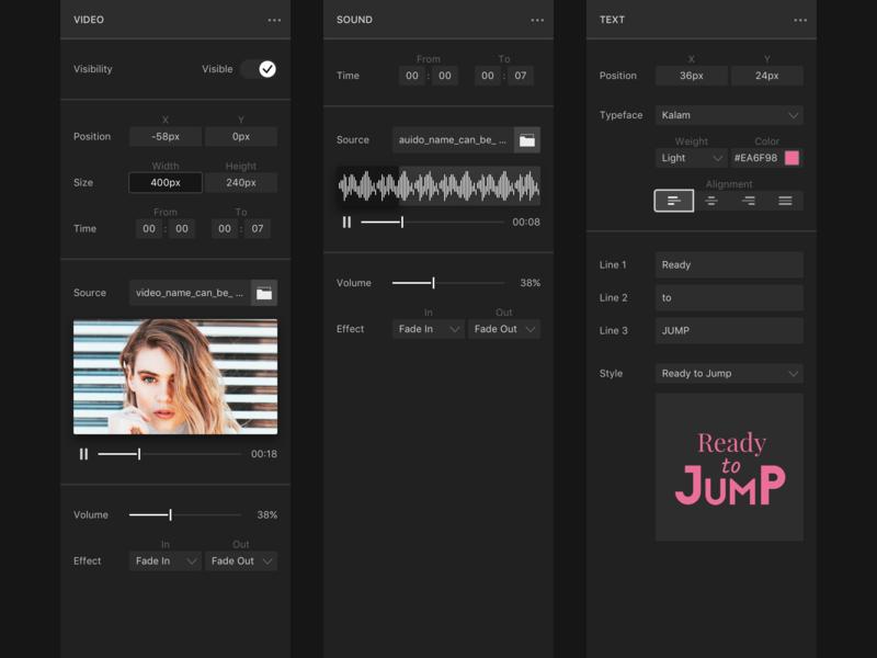 Video Editor - Sidebars sketch icon input sound audio player ui ux web app app video app editor video sidebar