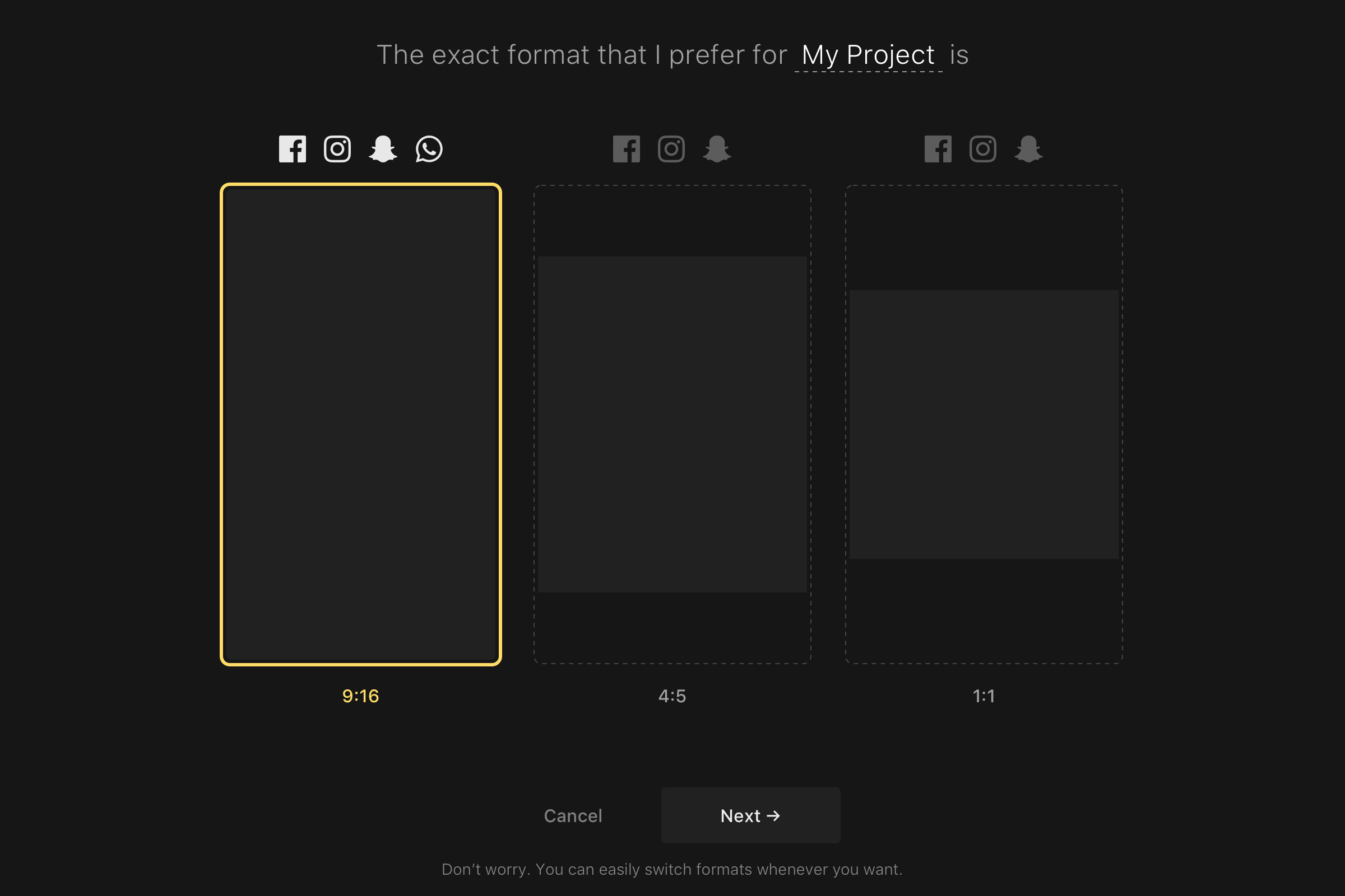 Create a project   select a format 2x