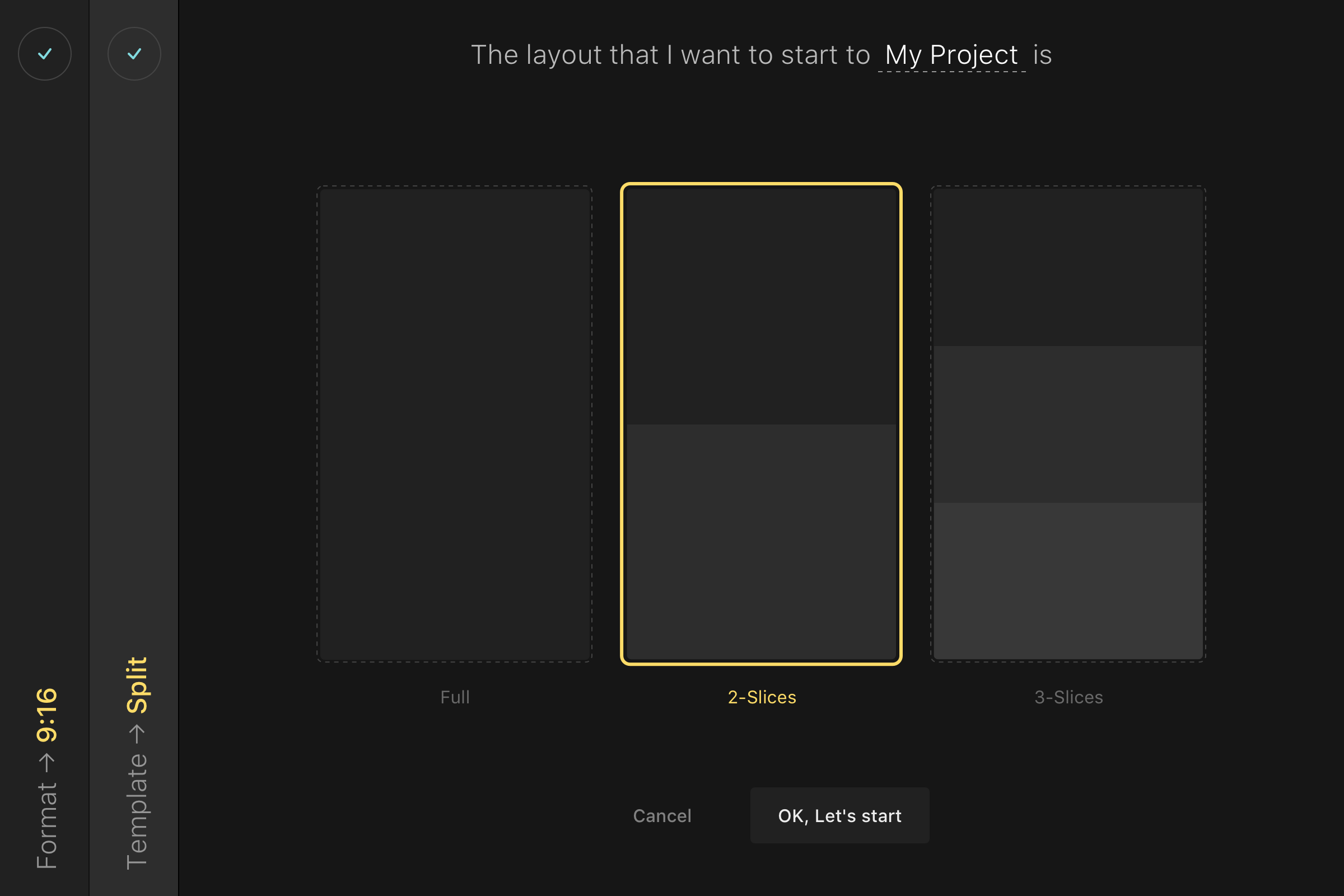 Create a project   select a start screen 2x