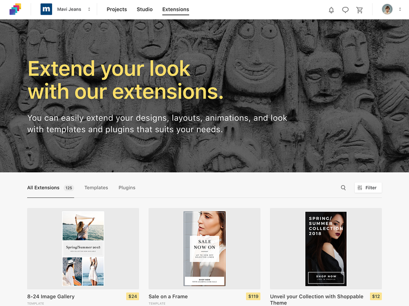 Extensions Marketplace Grid for Studio