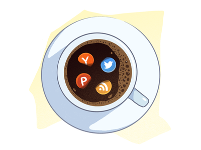 Morning routine drawing hackernews rss product hunt twitter ipad procreate illustration coffee cup