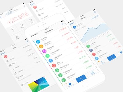 Spendary Finance App Screens overview transactions manage finance finance app add transaction details wallets categories income expenses
