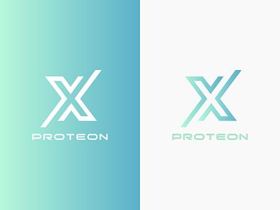 Proteon X Logo gradient turquoise blue green typography x logo branding brand logotype logo protein proteon x