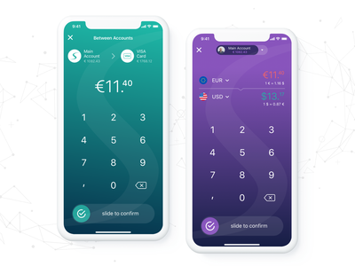 Paysera Transfer & Currency Convert Screens bank slide to confirm make transfer currency conversion currency finance application mobile app wallet app wallet paysera transfermoney transferwise transfer ios iphone x wallets income manage finance finance app