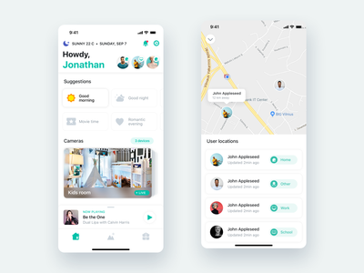 Smart Home App for iOS invite friends illustration ios 13 smart home lights control smart control home scenes smart smart devices living room rooms cooling heating temperature temperature control lightning control smart rooms smart scenes smart house app smart home app