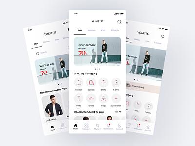 Yokoto - Fashion App UI Kit ui8 kit luxury ux figma kit ui kit clothing apparel mobile app ios android outfit clean minimalist ui design online shop fashion ui design