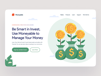 Moneyable - Grow Money With Investing kit8 website design vector crypto illustration stocks illustration saving illustration wallet illustration dollar illustration finance illustration coin illustration illustrations kit money investing header ui kit illustration clean ui minimalist design clean