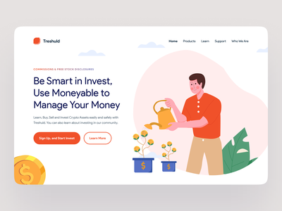 Moneyable - Investing His Money to Grow stocks market grow money flat illustration illustration kit flat investing man vector illustration ui design ui ui kit minimalist design clean