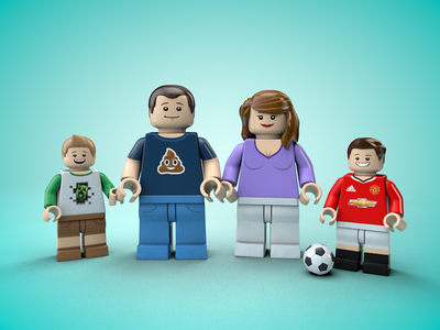 Me & my family, as LEGO Minifigures cinema 4d